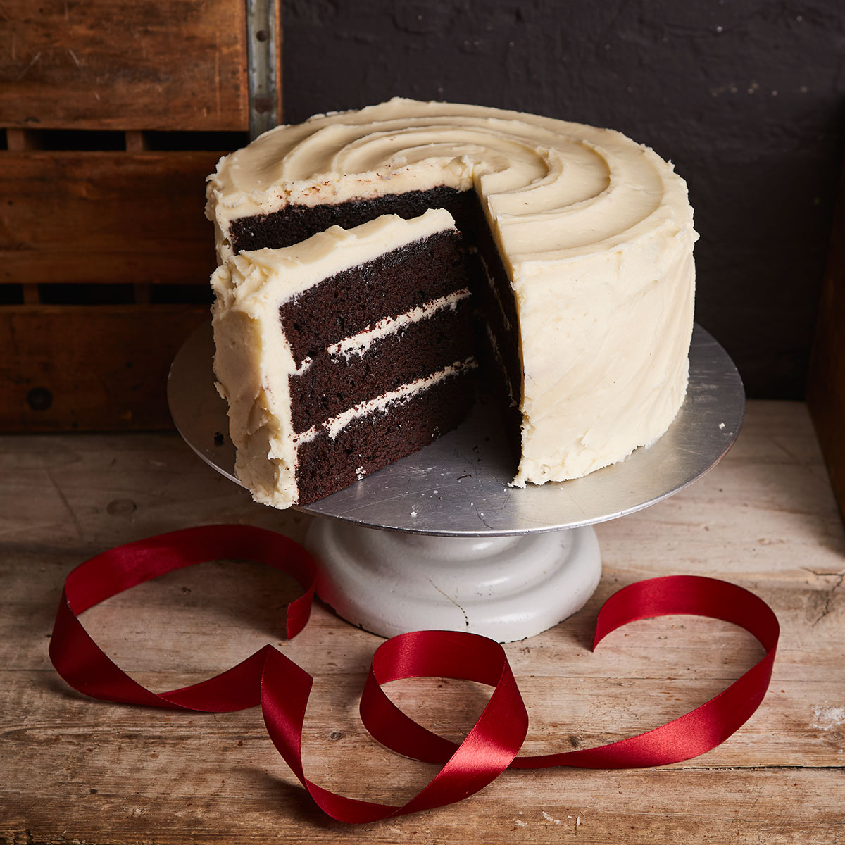 Chocolate cake triple layer with peppermint frosting